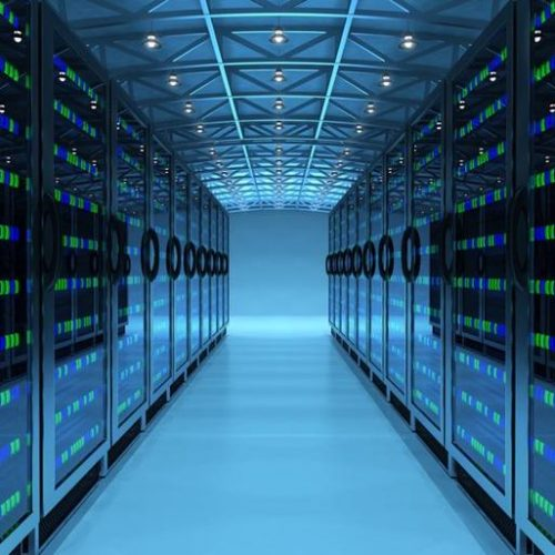 Network and internet telecommunication equipment in server room, data center interior